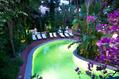 Piscina Termale semicoperta in giardino con cascata cervicale ed idromassaggi.